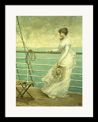 Lady On The Deck Of A Ship Framed Prints