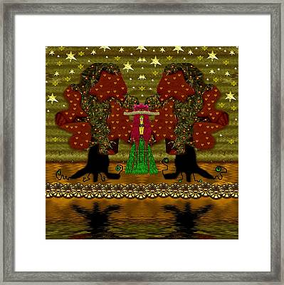 Lady Panda In The Breadfruit Forest Framed Print