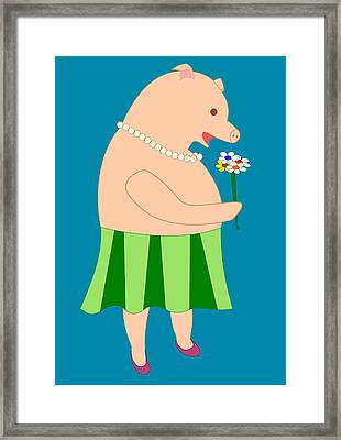 Lady Pig Smelling Flower Framed Print