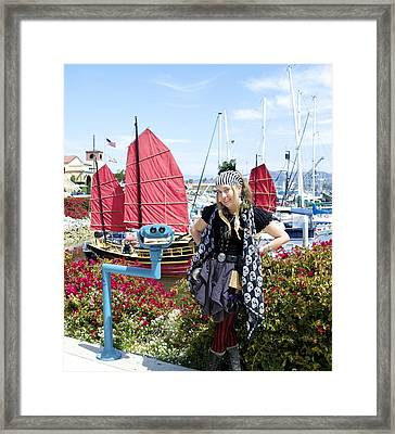 Lady Pirate And Friend Framed Print
