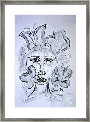 Lady Queen Of Butterflies Framed Print by Ramona Matei