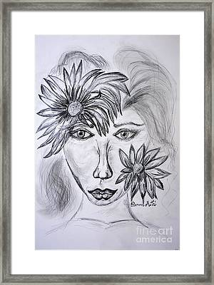 Lady Queen Of Sunflowers Framed Print by Ramona Matei