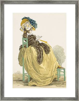 Lady Reading In A Garden In A Simple Framed Print