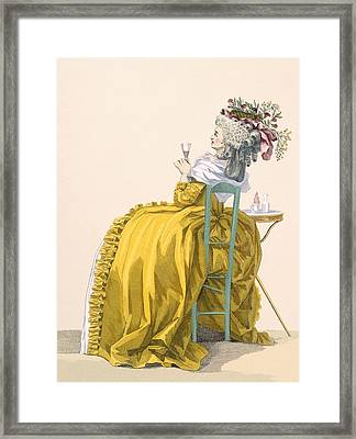 Lady Reclines On Chair Drinking Framed Print by Francois Louis Joseph Watteau