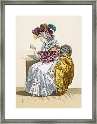 Lady Sitting Waiting For A Friend Framed Print by Francois Louis Joseph Watteau