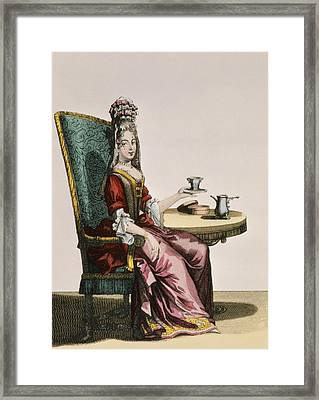 Lady Taking Coffee, Fashion Plate Framed Print