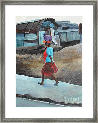 Lady Walking - Port -au- Prince Framed Print