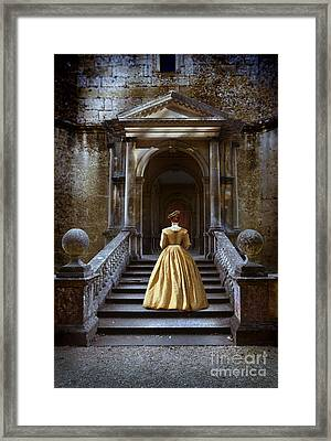 Lady Walking Up Stone Steps Framed Print by Jill Battaglia