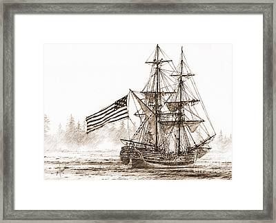 Lady Washington At Friendly Cove Sepia Framed Print by James Williamson