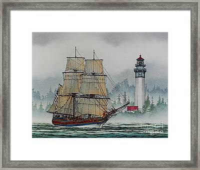 Lady Washington At Grays Harbor Framed Print by James Williamson