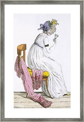 Lady Wearing A Negligee, From Costume Framed Print by French School
