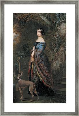Lady With A Greyhound, C.1839-42 Wc On Paper Framed Print by Daniel Saint
