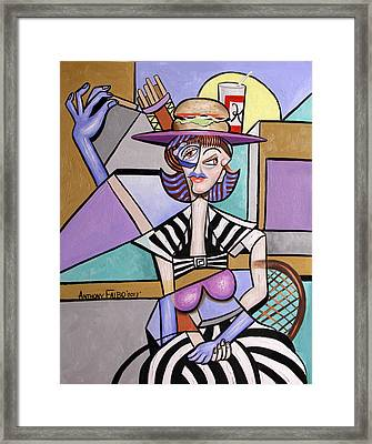 Lady With A Lunch Hat Framed Print by Anthony Falbo