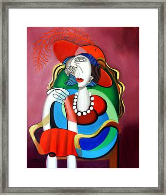 Lady With A Red Hat Framed Print