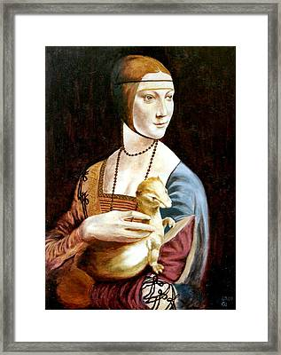 Framed Print featuring the painting Lady With An Ermine by Henryk Gorecki