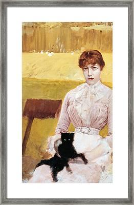 Lady With Black Kitten Framed Print
