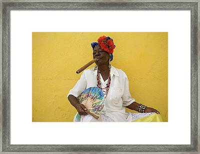 Lady With Fan And Cigar, Old Havana Framed Print