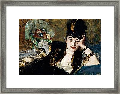Lady With Fan Portrait Of Marie Anne De Callias Known As Nina De Callias Framed Print by Edouard Manet