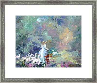 Lady With Geese Framed Print by Steven Nevada