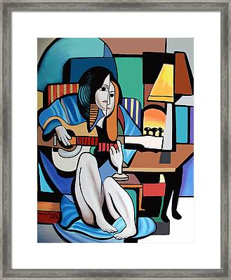 Lady With Guitar Framed Print by Anthony Falbo
