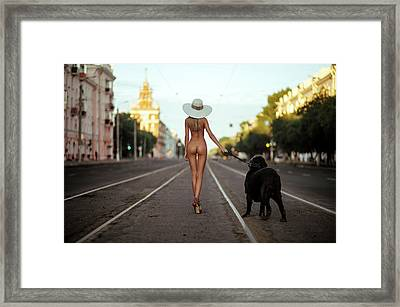 Lady With Her Dog Framed Print