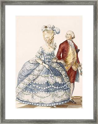 Lady With Her Husband Attending A Court Framed Print by Pierre Thomas Le Clerc