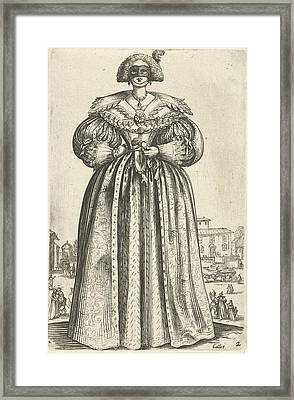 Lady With Mask And Flower, Seen From The Front Framed Print by Anonymous