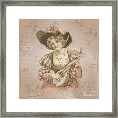 Lady With Music Roses Background Framed Print