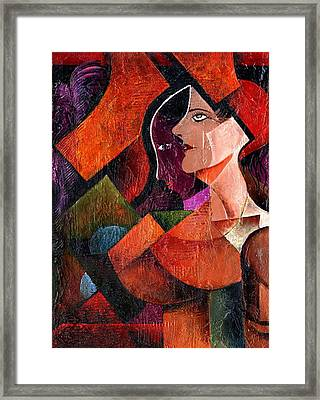 Lady With Ostrich Feathers Framed Print by Val Byrne