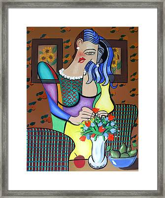 Lady With Pearl Necklace Framed Print