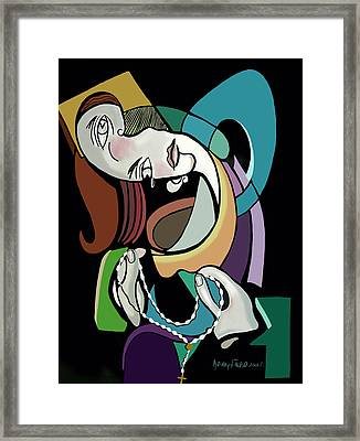 Lady With Prayer Beads Framed Print by Anthony Falbo
