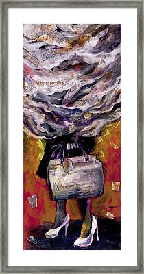 Lady With Suitcase And Storm Cloud Framed Print