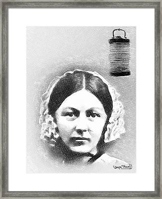 Lady With The Lamp - Florence Framed Print by Wayne Pascall
