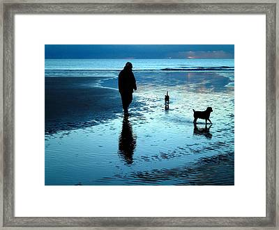 Lady With The Little Dogs Framed Print