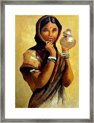 Lady With The Pot Framed Print by Farah Faizal
