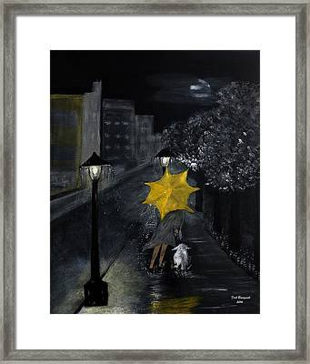 Lady With Yellow Umbrella And White Dog Framed Print by Dick Bourgault