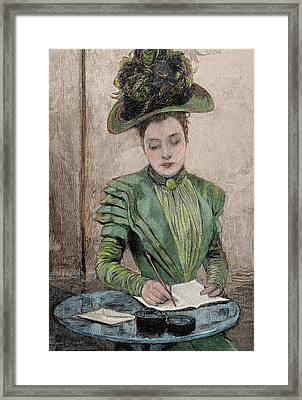 Lady Writing A Letter Framed Print by Prisma Archivo
