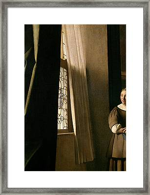 Detail From A Lady Writing A Letter With Her Maid Framed Print by Jan Vermeer