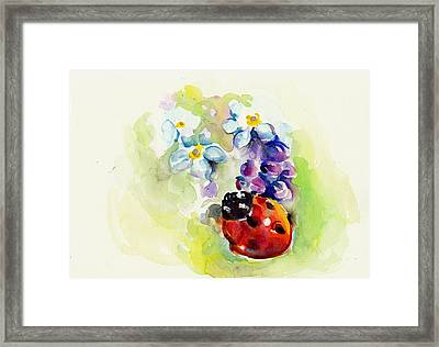 Ladybug In Flowers Framed Print