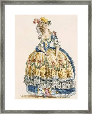 Ladys Elaborate Ball Gown, Engraved Framed Print