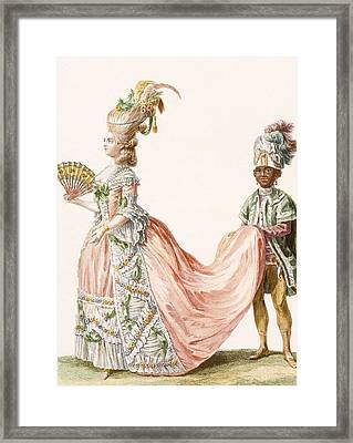 Ladys Elaborate Evening Gown, Engraved Framed Print by Claude Louis Desrais