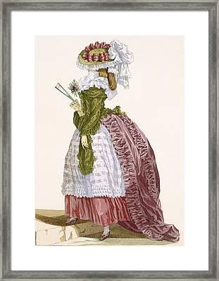 Ladys Elaborate Gown In Burgundy Framed Print by Francois Louis Joseph Watteau