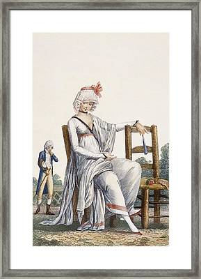 Ladys Promenade Dress, 1800 Framed Print by Philibert Louis Debucourt