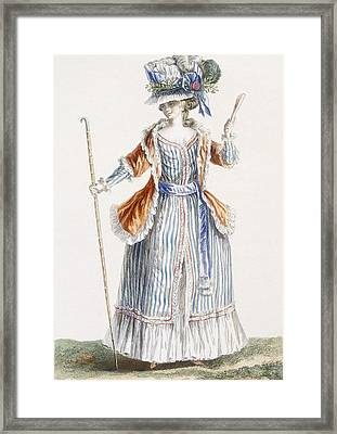 Ladys Shepherds-style Dress, Engraved Framed Print by Pierre Thomas Le Clerc