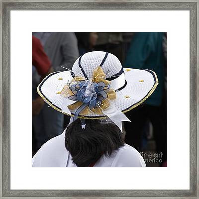 Lady's White Hat Framed Print by Heiko Koehrer-Wagner