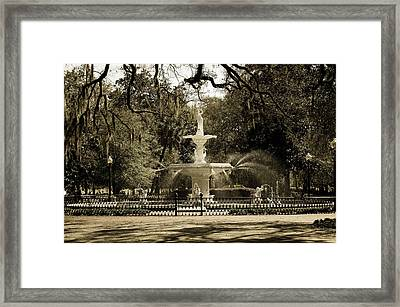 Lafayette Square In Savannah Framed Print by Maria Suhr