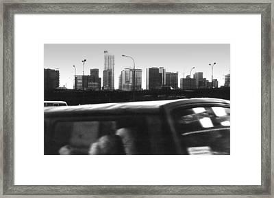 Lagos Skyline At Dusk Framed Print by Muyiwa OSIFUYE