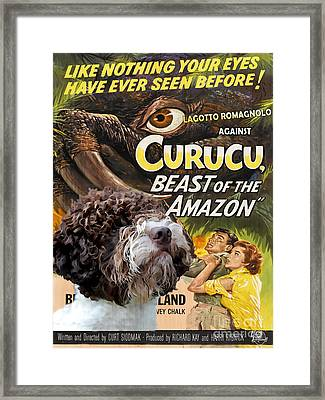 Lagotto Romagnolo Art Canvas Print - Curucu Movie Poster Framed Print