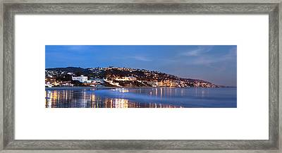 Laguna Beach Coastline At Night Framed Print by Cliff Wassmann