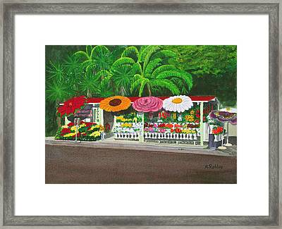Laguna Beach Flower Stand Framed Print by Mike Robles